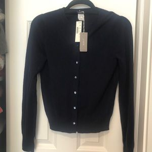 J crew navy blue 100% cashmere cardigan sweater